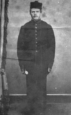 Daniel Munro(e).  Picture believed to have been taken in the early 1870's at the Sandwich (Windsor), Ontario barracks.
