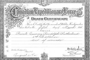 HOZ - Quincey Sutherlland death certificate