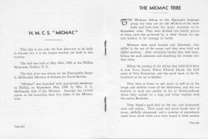 HOZ - scan of 2 pages from little booklet about the Micmac destroyer ship
